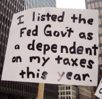 Tea Party Sign - Listing the Federal Government as a dependent