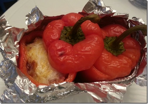 Roasted red peppers stuffed with bacon, cheese, and onions